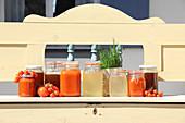 Tomato stock, vegetable stock and dandelion dressing