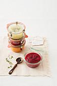 Various cream soups in jars