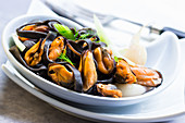 Mussels with herbs as a salad