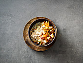 Almond drink muesli with carrots and dates