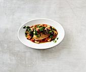 Turkey schnitzel with tomato sauce