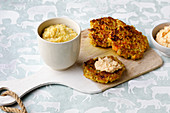 Freekeh porridge for a baby and freekeh fritters for the mother