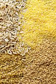 Bulgur, polenta, wholemeal rice and couscous