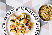 Courgette and salmon ragout with bulgur for mother and baby