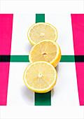 Three lemon halves