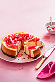 Vanilla baked cheesecake with roasted rhubarb