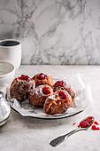 Homemade doughnuts with strawberry jam