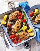 Ofengebratene Hühnerbrust mit Kruste und Gemüse
