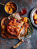 Slow-roasted Pork Loin with Peach and Rosemary Jelly