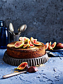 Upside-down Lemon Fig Polenta Cake