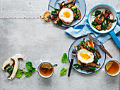 Fried Eggs with Balsamic Mushrooms and Spinach