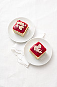 Ricotta bake with raspberry sauce and almonds