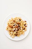 Fusilli with lardo, almonds and honey