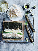 Cauliflower Sushi with Mushrooms and Pickled Daikon