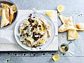 Cauliflower Hummus with Spiced Lamb