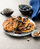 Blueberry chocolate pancakes with hazelnuts