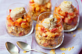 Granola and braised apples parfait with banana and cinnamon nice-cream