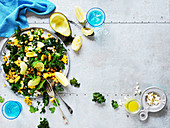 Roasted Kale, Sweetcorn and Chickpea Salad