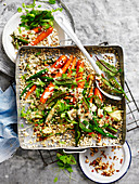 Spiced Okra Salad with Tahini Dressing