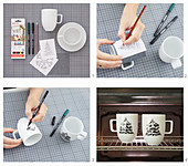 Instructions for making mugs painted with fir trees
