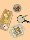 Kohlrabi-Lasagne einschichten