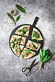 Flammkuchen with wild garlic