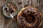 Chocolate coffee cake, sliced