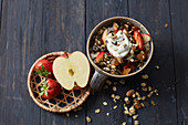 Crispy muesli with fruit and pistachios