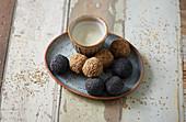 Cashew nut balls with hemp seeds