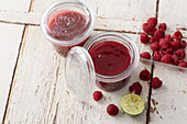 Raspberry and passion fruit jam