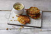 Vegetable fritters with avocado cream