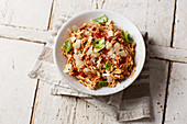 Chickpea pasta with tofu bolognese