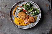 Soya salmon with carrot purée and spinach