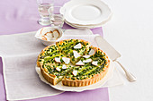 Green quiche with peas and asparagus