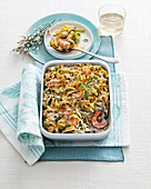 Green and white pasta bake with prawns