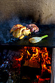 Chicken, quail and fennel on a grill