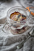 Bircher muesli with green tea and roasted oatmeal