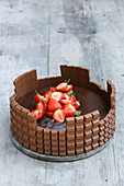 Kids chocolate pie with strawberries