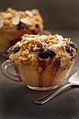 Microwave blueberry stuffed muffins