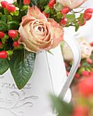 Rosenblüte und Hypericumfrüchte