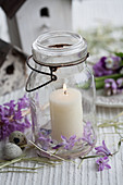 Candle in mason jar, hyacinths and quail eggs