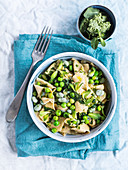 Rustici pasta with fava beans, peas and peppermint butter