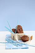 Mini walnut brownies with pumpkin