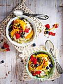Quinoa and Pear Bircher Muesli with Coconut Fruit Salad