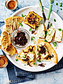 Baked Ricotta with Caramelised Onions and Flatbread
