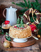 Christmas Napoleon cake with puff pastry and buttercream