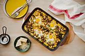 Polenta breakfast bake with eggs
