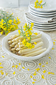 White asparagus with rape seed flowers