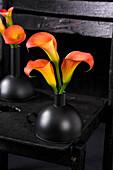Orangefarbene Kalla - Blüten in Vase