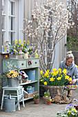 Osterterrasse mit Felsenbirne, Osterglocken, bepflanzter Kasten und Zinkeimer, Holzosterhasen, Frau legt Ostereier in Korb